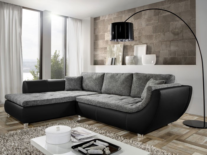 Amazing Couch Avery, 287x196cm, Webstoff Anthrazit, Kunstleder Schwarz, Sofa Design Ideas